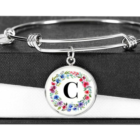 Floral Letter C Initial Bangle Bracelet Personalized in 18k Gold or Stainless Steel
