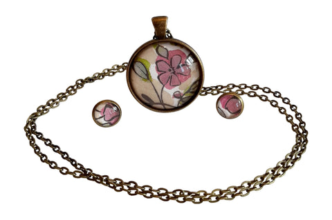 Lilac Flower Pendant Necklace and Earring Set