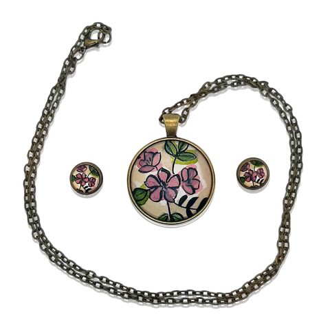 Lilac Flower Pendant Necklace and Earring Set - Poppies And Thyme