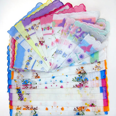 Cotton Flower Vintage Handkerchiefs