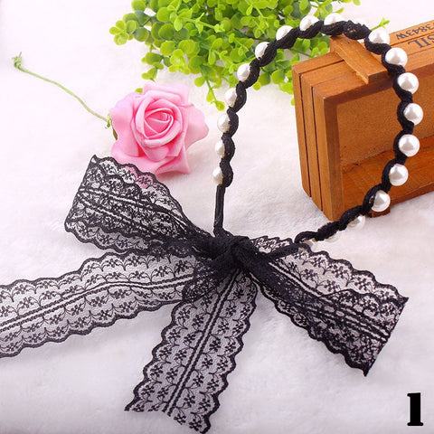 Ladies Fashion Pearl Headband Tress