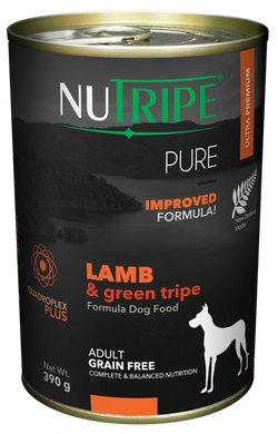 NUTRIPE PURE Lamb & Green Tripe Formula Dog Food 390g cans