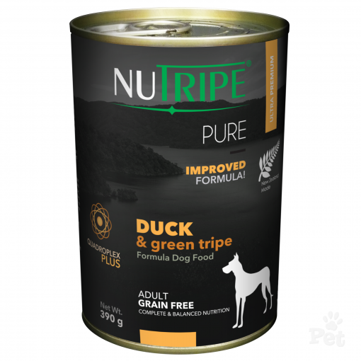 NUTRIPE PURE Duck & Green Tripe Formula Dog Food 390g cans