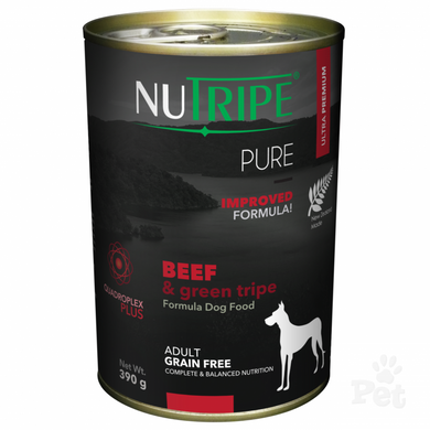 NUTRIPE PURE Beef & Green Tripe Formula Dog Food 390g cans