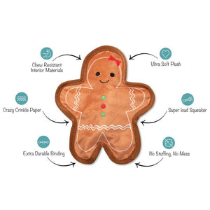 Fringe Studio GINGERBREAD Plush Squeaker Dog Toy