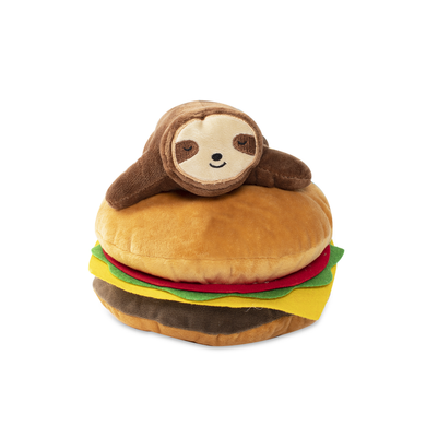 Fringe Studio SLOTH ON A HAMBURGER Plush Squeaker Dog Toy