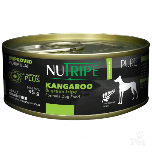 NUTRIPE PURE Kangaroo & Green Tripe Formula Dog Food 95g cans