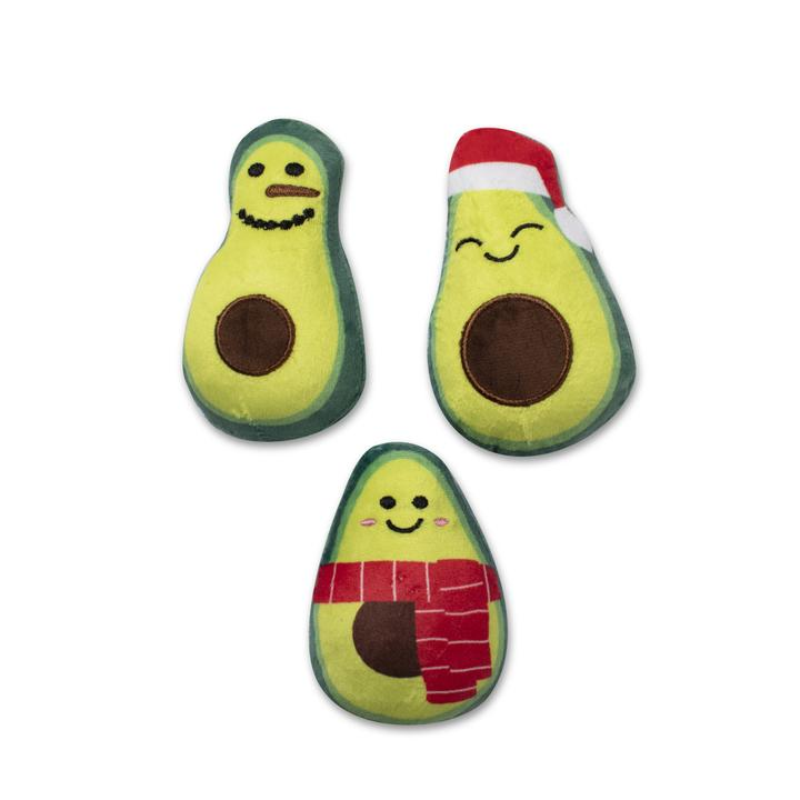 Fringe Studio HOLIDAY AVOCADOS Plush Squeaker Dog Toy (set of 3)