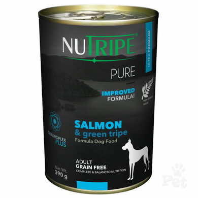 NUTRIPE PURE Salmon & Green Tripe Formula Dog Food 390g cans