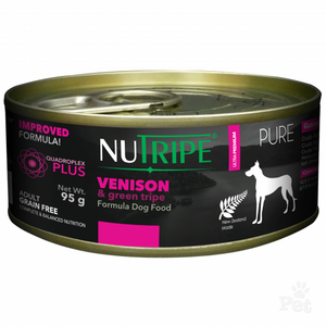 NUTRIPE PURE Venison & Green Tripe Formula Dog Food 95g cans