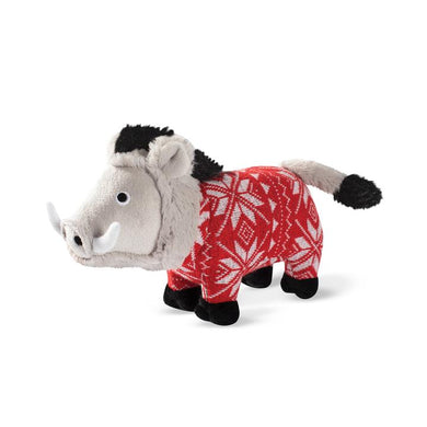 Fringe Studio HOLIDAY WARTHOG Plush Squeaker Dog Toy