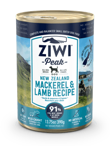 ZIWI Peak Mackerel & Lamb Recipe for Dogs 390g cans