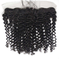 Forawme 13X4 Lace Closure Deep Curly / 8 Inch / Free Part 13x4 Brown Lace Frontal Ear To Ear Lace Closure Piece