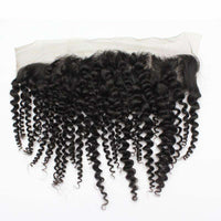 Forawme 13X4 Lace Closure Kinky Curly / 8 Inch / Free Part 13x4 Brown Lace Frontal Ear To Ear Lace Closure Piece