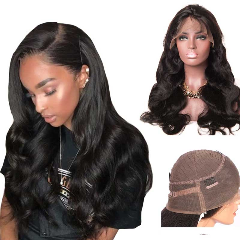 Forawme 360 Lace Wigs Body Wave / 10 Inch / 150% Density 360 Lace Frontal Wigs Mink Human Hair Hight Ponytail Wig(Medium Size Cap 22.5)