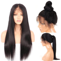 Forawme 360 Lace Wigs Straight / 10 Inch / 150% Density 360 Lace Frontal Wigs Mink Human Hair Hight Ponytail Wig(Medium Size Cap 22.5)