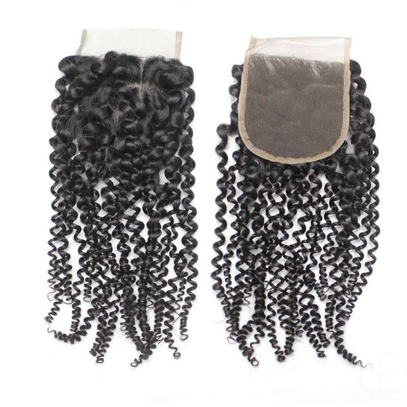 Forawme 4X4 Lace closure 4x4 Kinky Curly Lace Top Closure Piece Human Hair Swiss Lace Closure Natural Black
