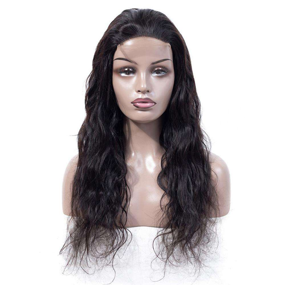 Forawme 4x4 Lace Closure Wigs Lace Closure Wigs Brazilian Virgin Remy Hair Natural Black Color 130% Density Lace Wig