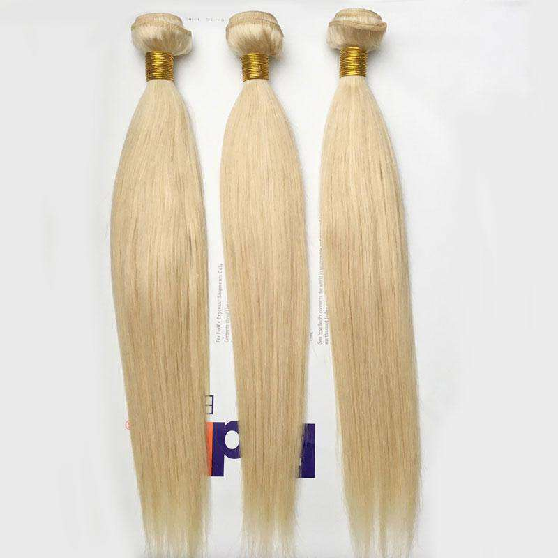 Forawme Hair 613 Blonde Hair 613 Light blonde human hair bundles 10A Bleached hair Weave Straight Hair