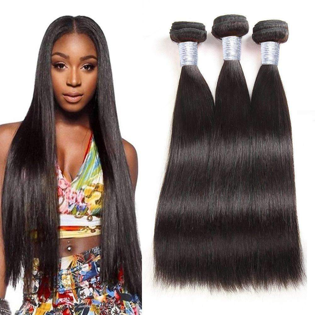 Forawme Brazilian Hair Bundle 3/4 Bundles Mink Straight Black Human Hair