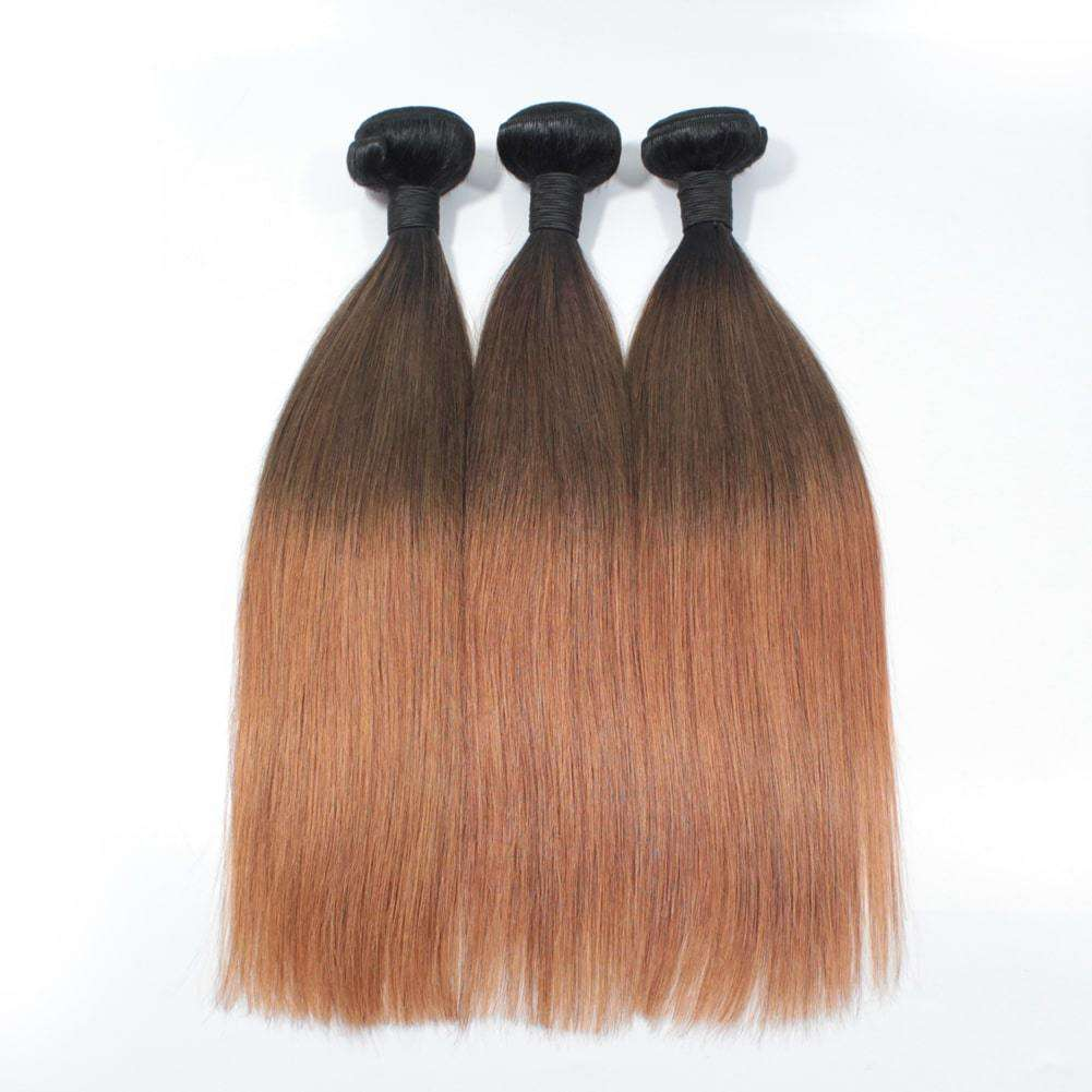 Forawme Brazilian Hair Bundle Brazilian Ombre Bundles Straight Weaves 3pcs/lot #1B/4/30 Remy Ombre Straight Hair