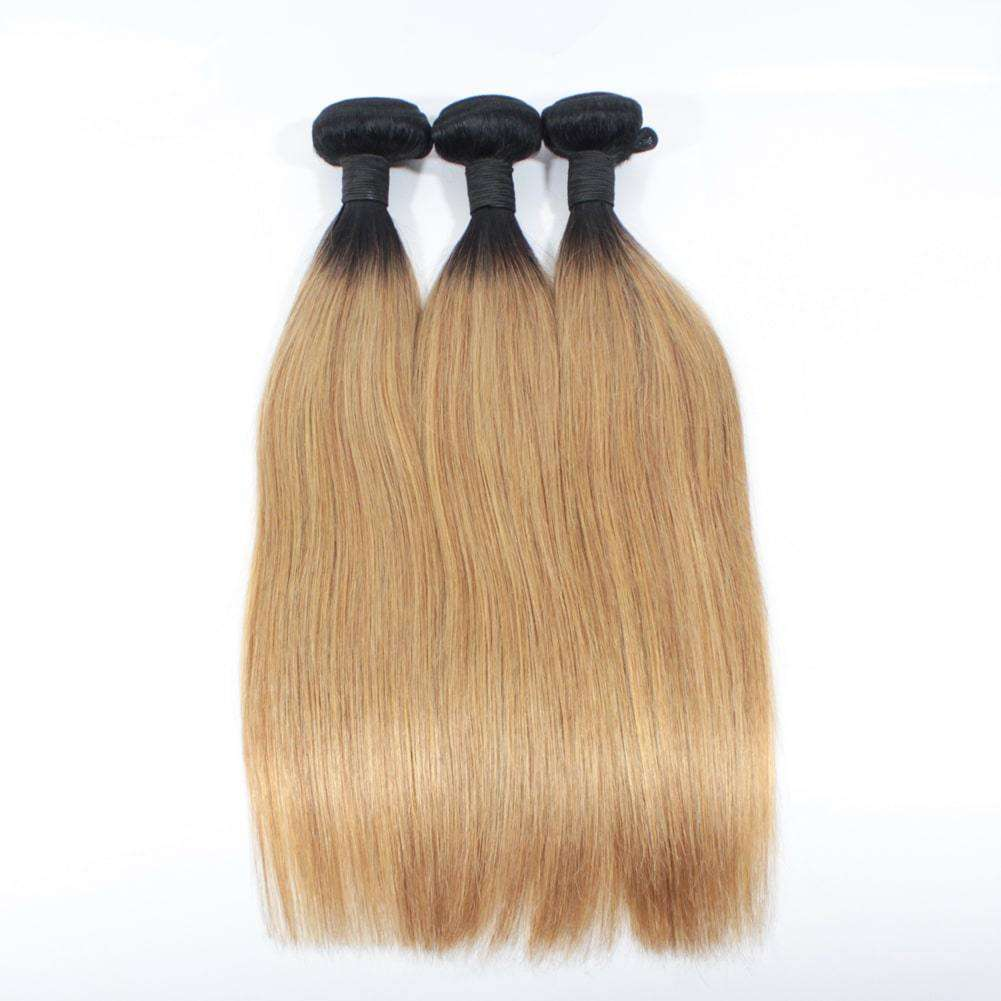 Forawme Brazilian Hair Bundle Silky Straight Brazillian Human Hair Bundles 3pcs/lot #1B/27 Straight Hair Weaves