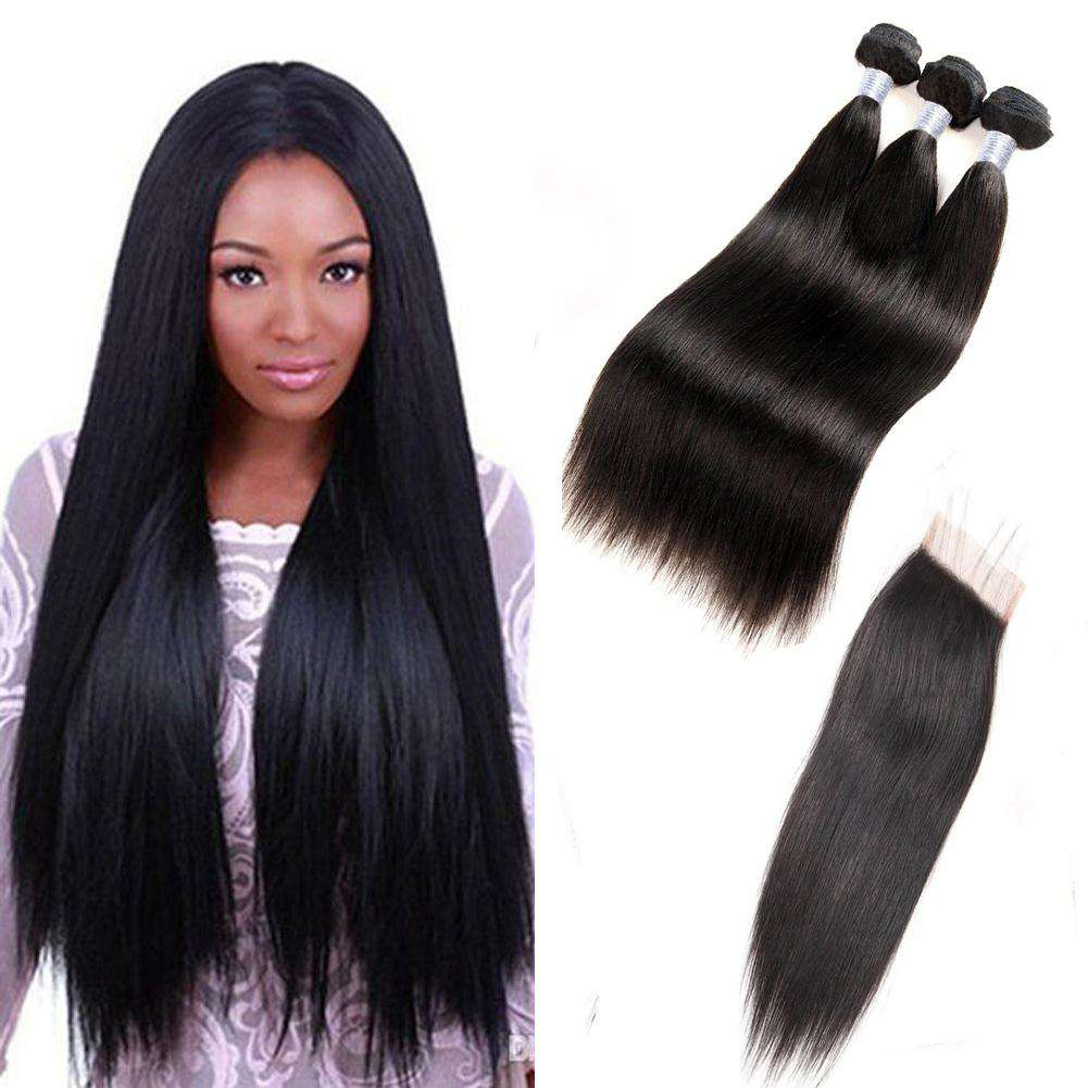 Forawme Bundles With Closure 10 12 14+8 Inch / Transparent Invisible Lace Brazilian Virgin Hair Straight Hair Bundles With 4X4 Top Lace Closure