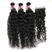 Forawme Bundles With Closure 10 12 14 Inch / With 10 Inch Lace Closure Human Hair Water Wave Hair Bundles With 4X4 Lace Closure