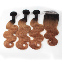 Forawme Bundles With Closure 10 12 14 Inch / With 10 Inch Lace Closure Ombre 1B/30 10A Human Hair Body Wave Bundles With Top Closure Free Part Ombre Remy Hair