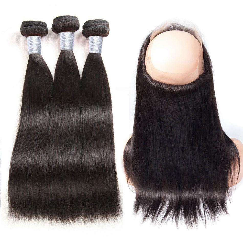 Forawme Bundles With Closure 20 20 20+Closure 18 / Straight Human Virgin Hair 2/3 Bundles With 360 Lace Frontal Closure