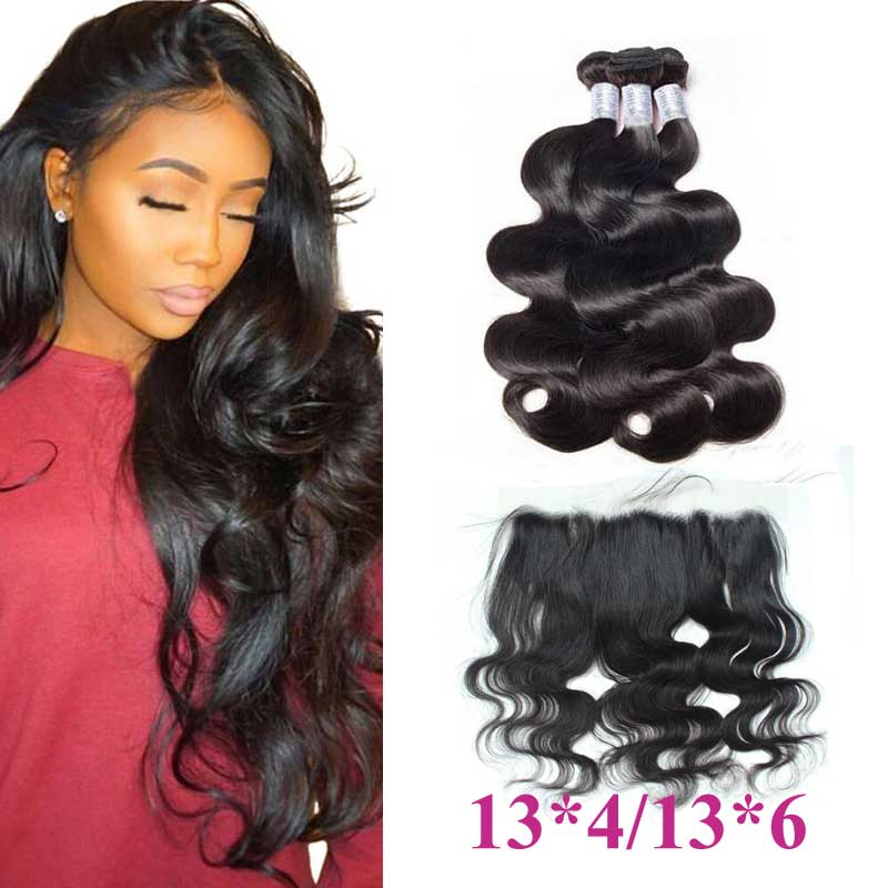 Forawme Bundles With Closure Brazilian Body Wave Hair Bundles With 13X4/6 Lace Frontal