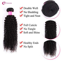 Forawme Bundles With Closure Brazilian Human Hair Kinky Curly Bundles With Lace Closure 4X4