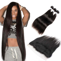 Forawme Bundles With Closure Brazilian Straight Hair 3/4 Bundles With Lace Frontal 13X4/6 Closure