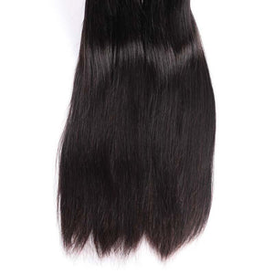 Forawme Bundles With Closure Brazilian Straight Hair 3/4 Bundles With Transparent Top Lace Closure