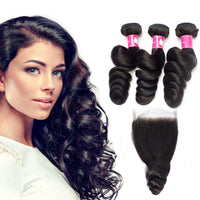 Forawme Bundles With Closure Brazilian Virgin Hair Loose Wave Bundles With 4X4 Lace Closure