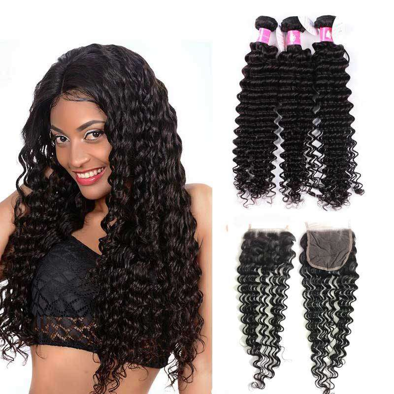 Forawme Bundles With Closure Deep Wave Bundles With 4X4 Top Lace Closure