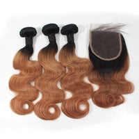 Forawme Bundles With Closure Ombre 1B/30 10A Human Hair Body Wave Bundles With Top Closure Free Part Ombre Remy Hair