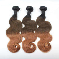 Forawme Bundles With Closure Ombre 1b/4/30 Brazilian Weaving Hair Bundles With13*4 Lace Frontal Free Part Body Wave