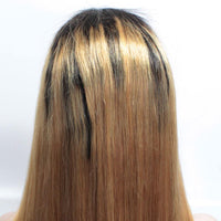 Forawme Front Lace Wig Ombre 1B/27 Honey Blonde Straight Hair Lace Front Wigs