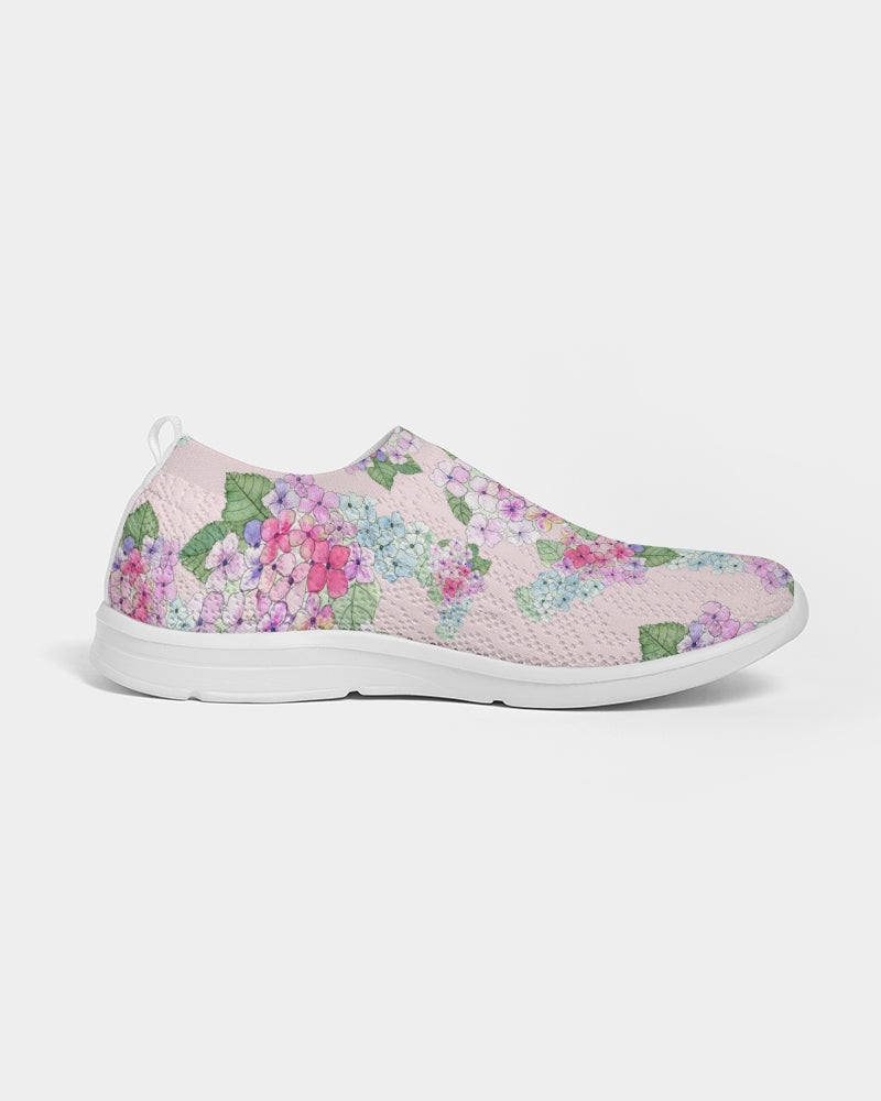 Pink Hydrangaes Women's Slip-On Flyknit Shoe