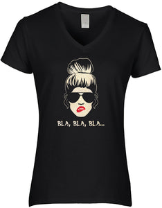 BlingelingShirts Damen Fun V- Shirt Bla Bla Bla Party Sprüche Shirt mit sexy Girl  bis Gr. 5XL