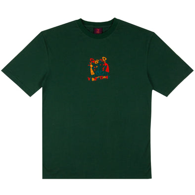 THE SNAKE HOLE - GOOD VIBRATIONS S/S TEE - DARK GREEN