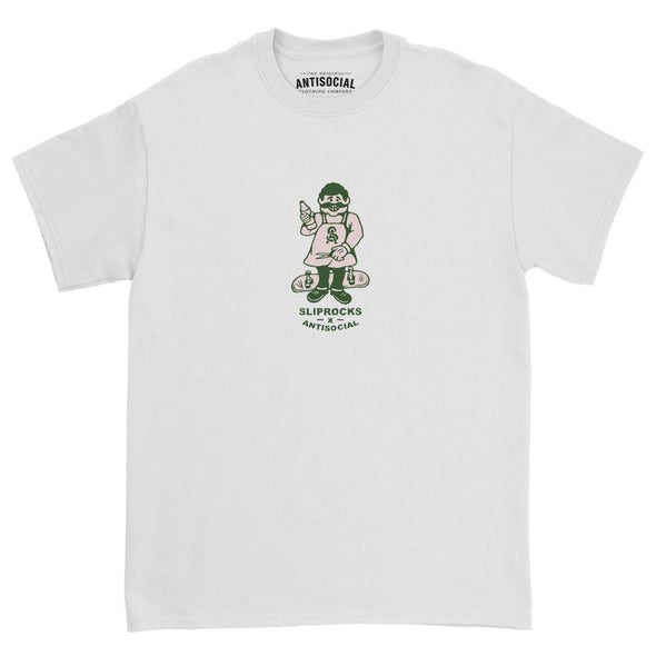 ANTISOCIAL X SLIPROCKS - INN KEEPER TEE - WHITE