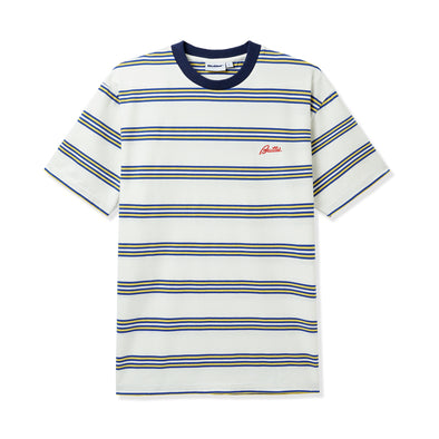 BUTTER GOODS - MARKET STRIPE TEE - WHITE / YELLOW / ROYAL