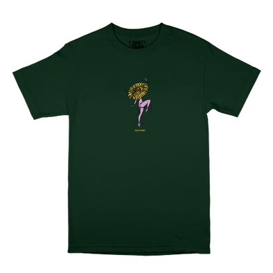 "PASS~PORT ""FLORAL DANCER"" TEE - FOREST GREEN"