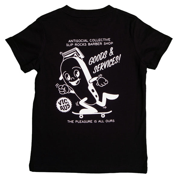 ANTISOCIAL X SLIPROCKS - G&S TEE LITTLE YOUTH - BLACK