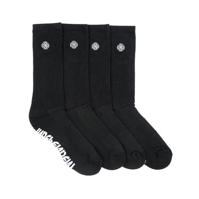 INDEPENDENT - CROSS EMBROIDERY SOCKS 4 PAIRS - BLACK