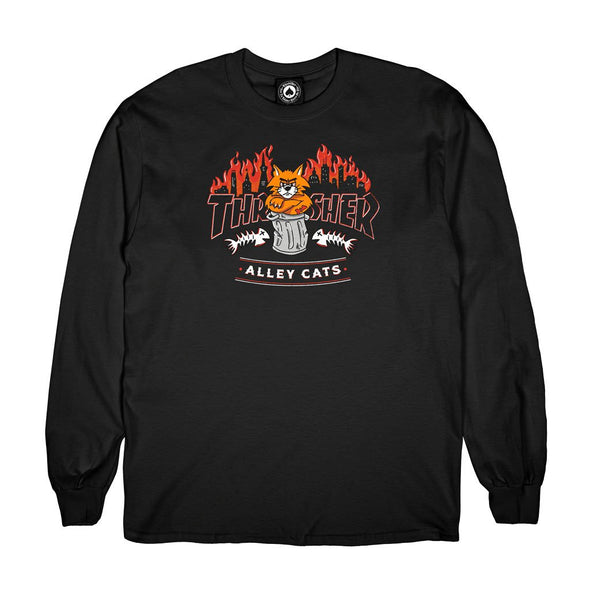THRASHER - ALLEY CATS L/S TEE - BLACK