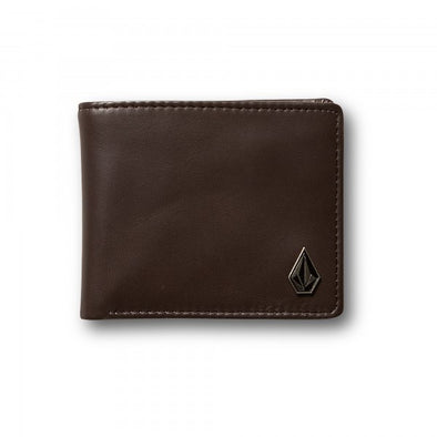 VOLCOM - SINGLE STONE LEATHER WALLET - BROWN STONE