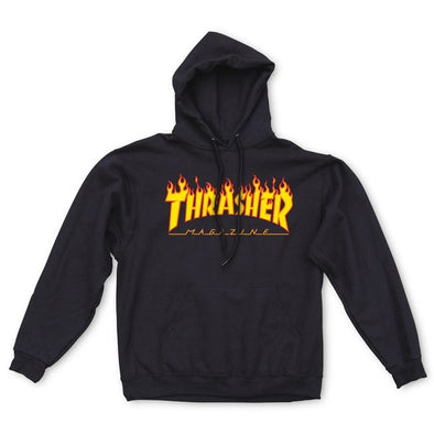 THRASHER - FLAME LOGO HOOD - BLACK - Antisocial Collective